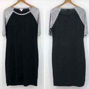 LuLaRoe L Julia Dress Raglan Sleeve Black & Silver